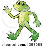Clipart Of A Cartoon Green Frog Walking And Waving Royalty Free Vector Illustration by Lal Perera