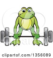 Clipart Of A Cartoon Green Frog Bending To Lift A Heavy Barbell Royalty Free Vector Illustration by Lal Perera