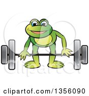 Clipart Of A Cartoon Green Frog Bending To Lift A Barbell Royalty Free Vector Illustration by Lal Perera