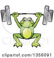 Clipart Of A Cartoon Green Frog Holding A Heavy Barbell Over His Head Royalty Free Vector Illustration by Lal Perera