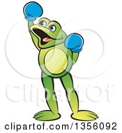 Clipart Of A Cartoon Green Frog Boxer Cheering Royalty Free Vector Illustration by Lal Perera
