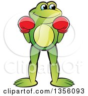 Clipart Of A Cartoon Green Frog Boxer Royalty Free Vector Illustration by Lal Perera