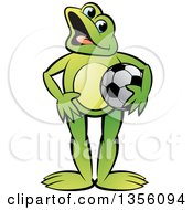Clipart Of A Cartoon Green Frog Holding A Soccer Ball Royalty Free Vector Illustration by Lal Perera