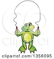 Clipart Of A Cartoon Green Frog Skipping Rope Royalty Free Vector Illustration by Lal Perera