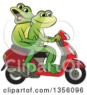 Clipart Of Cartoon Green Frogs On A Scooter Royalty Free Vector Illustration by Lal Perera