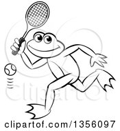 Clipart Of A Cartoon Black And White Frog Playing Tennis Royalty Free Vector Illustration