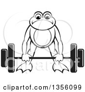 Clipart Of A Cartoon Black And White Frog Bending To Lift A Heavy Barbell Royalty Free Vector Illustration by Lal Perera