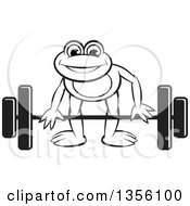 Clipart Of A Cartoon Black And White Frog Bending To Lift A Barbell Royalty Free Vector Illustration by Lal Perera