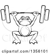 Clipart Of A Cartoon Black And White Frog Holding A Heavy Barbell Over His Head Royalty Free Vector Illustration by Lal Perera