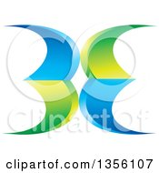 Clipart Of A Green And Blue Abstract Icon Royalty Free Vector Illustration