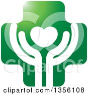 Clipart Of A Green Cross And Hands Cupping Heart Icon Royalty Free Vector Illustration
