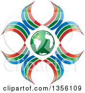 Clipart Of A Green Earth Globe With Red Green And Blue Ribbons Royalty Free Vector Illustration by Lal Perera