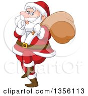 Clipart Of A Cartoon Sneaky Santa Gesturing To Be Quiet Royalty Free Vector Illustration