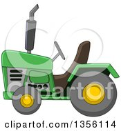 Clipart Of A Cartoon Green Tractor Royalty Free Vector Illustration