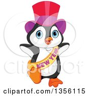 Clipart Of A New Year Penguin Dancing Royalty Free Vector Illustration