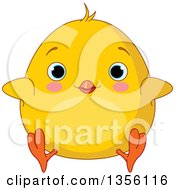 Clipart Of A Cartoon Chubby Yellow Chick Sitting Royalty Free Vector Illustration by Pushkin