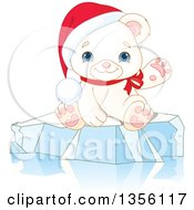 Clipart Of A Cute Baby Polar Bear Cub Wearing A Christmas Santa Hat And Presenting Or Waving On Ice Royalty Free Vector Illustration by Pushkin