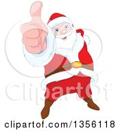 Clipart Of A Happy Christmas Santa Claus Holding Up A Thumb Royalty Free Vector Illustration by Pushkin