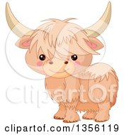Clipart Of A Cute Baby Yak Royalty Free Vector Illustration
