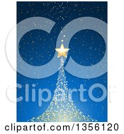 Clipart Of A Magical Glowing Glowing Christmas Tree And Gold Star Over Blue Royalty Free Vector Illustration