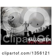 Clipart Of A Halloween Background Of A Silhouetted Devil In A Cemetery With Vampire Bats A Spider And Bare Trees Over Grungy Metal With Text Royalty Free Vector Illustration