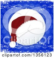 Clipart Of A Christmas Santa Hat Over A Shaded Circle On Blue Snowflakes And Grunge Royalty Free Vector Illustration by elaineitalia