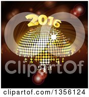 Silhouetted Crowd Of Hands Over A 3d Gold Disco Ball And New Year 2016 Over A Spiral
