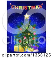 Clipart Of A 3d Christmas Tree With Gifts Under A Colorful Banner On Blue With Flares Royalty Free Vector Illustration