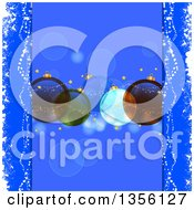 Clipart Of A Background Of Christmas Bauble Ornaments Over Blue With Flares Royalty Free Vector Illustration