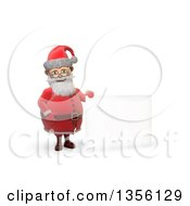 3d Christmas Santa Claus Holding A Blank Sign On A White Background