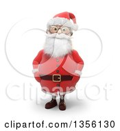 Clipart Of A 3d Christmas Santa Claus Wearing Glasses On A White Background Royalty Free Illustration