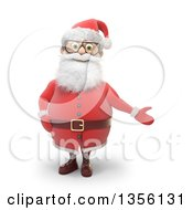 Clipart Of A 3d Christmas Santa Claus Presenting On A White Background Royalty Free Illustration