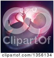 Clipart Of A 3d Human Fetus Inside The Womb With Pink Lighting Royalty Free Illustration