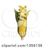 Clipart Of A 3d GMO Corn Cob Turning Into Dna Strands On A White Background Royalty Free Illustration