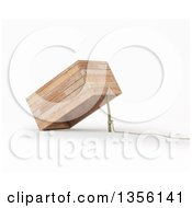 Clipart Of A 3d Rope Stick And Box Trap On A White Background Royalty Free Illustration