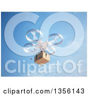 Clipart Of A 3d RC Quadcopter Drone Flying With A Package Against Blue Sky Royalty Free Illustration