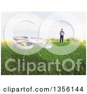 Clipart Of A 3d Man Flying A RC Quadcopter Drone In A Meadow Royalty Free Illustration