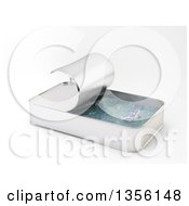 Clipart Of A 3d Overfishing Concept Of A Fish And Ocean Inside A Can On A White Background Royalty Free Illustration