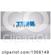 Clipart Of A 3d Group Of Business Men Around The Word TEAM On Gray Royalty Free Illustration