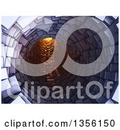 Clipart Of A 3d Tunnel With Light At The End Royalty Free Illustration by Mopic