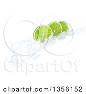 3d Lime Slices On A Water Splash On A White Background
