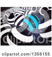 Clipart Of A Background Of A Blue And Black Sphere Standing Out From Black And White Spheres Royalty Free Illustration