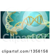 Clipart Of A 3d Yellow Dna Strand Floating In Liquid Royalty Free Illustration