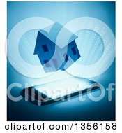 Clipart Of A 3d House And Binary Code Emerging From A Smart Phone On Blue Royalty Free Illustration