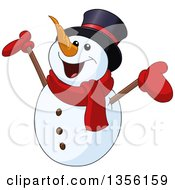 Cartoon Cheering Snowman Holding Up His Arms