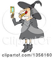 Clipart Of A Cartoon Chubby Halloween Witch Applying Lipstick Royalty Free Vector Illustration