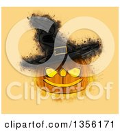 Clipart Of A Grunge Painted Halloween Jackolantern Pumpkin Wearing A Witch Hat On Orange Royalty Free Illustration