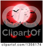 Clipart Of A Red Full Moon With Vampire Bats Over A Silhouetted Cemetery And Evil Eyes Royalty Free Vector Illustration