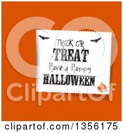 Clipart Of A Trick Or Treat Have A Happy Halloween Greeting Label With Bats And A Jackolantern Over Orange Royalty Free Vector Illustration by KJ Pargeter