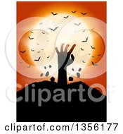 Clipart Of A Silhouetted Zombie Hand Rising From The Grave Against A Full Moon With Vampire Bats On Orange Royalty Free Vector Illustration